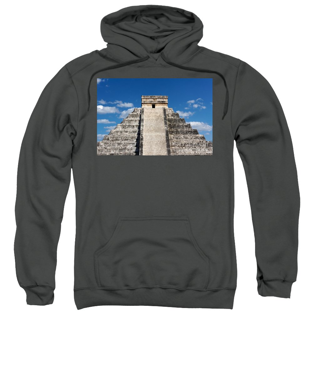 America Sweatshirt featuring the photograph Mayan Temple Pyramid At Chichen Itza by Jannis Werner