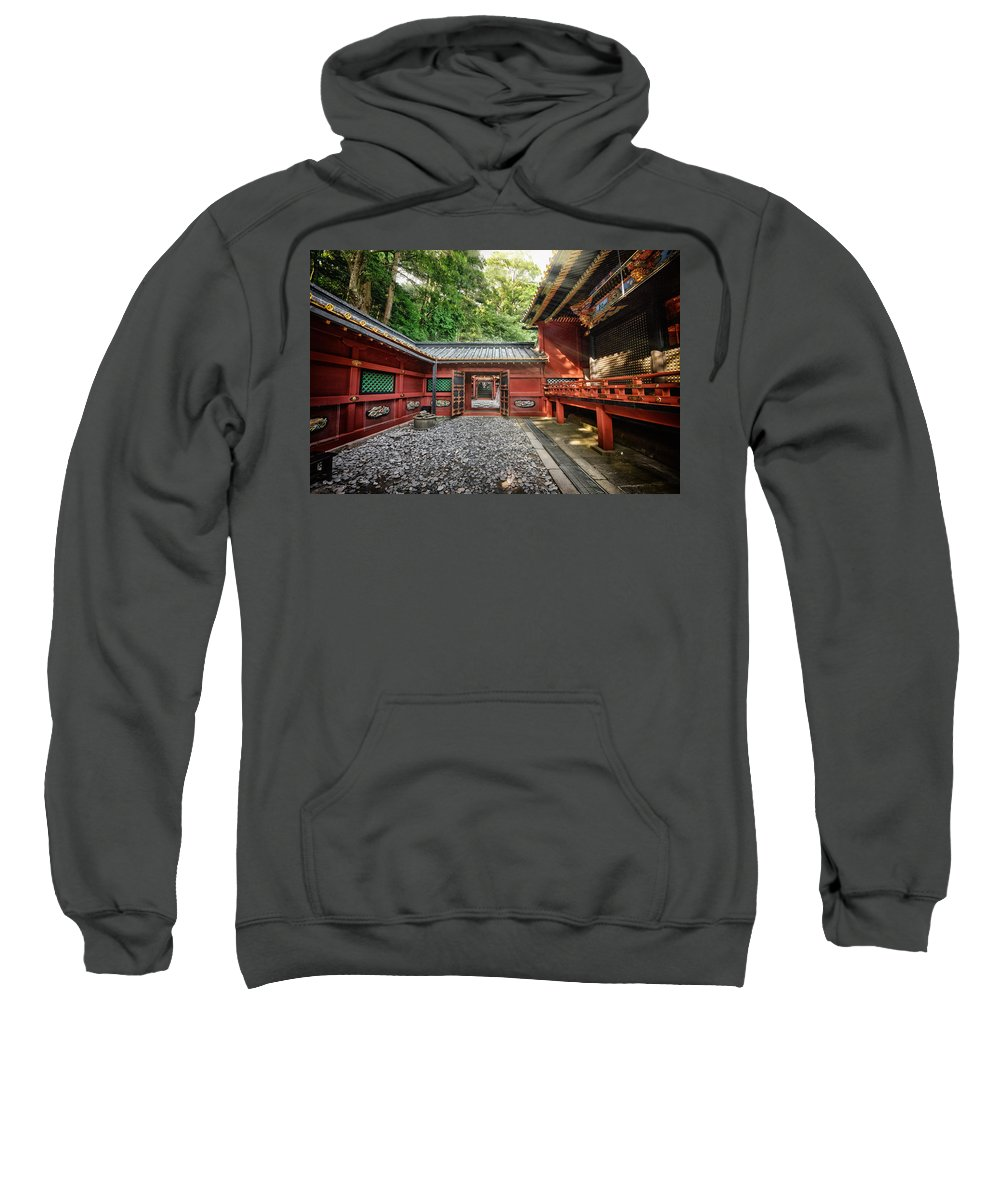 Temple Buddhism Asian Meditation Buddhist Religious Religion Culture Asia Buddha Travel Oriental Worship Old Art Gold Siam Prayer Pray Faith Statue Traditional Tradition Chinese Ancient Sculpture Spiritual Zen China Meditate Sweatshirt featuring the photograph Maze Of Beauty by John Swartz