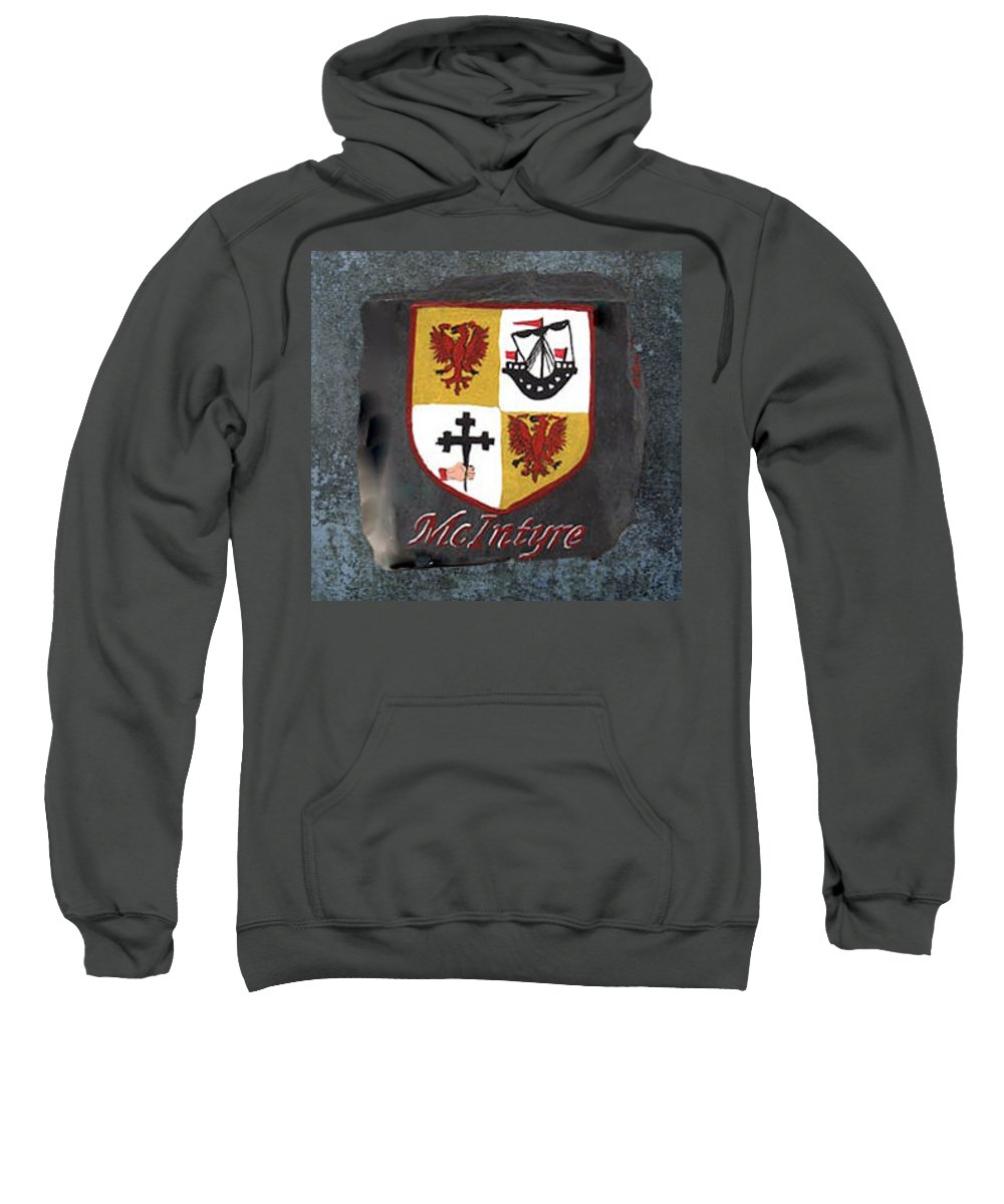 Family Shield Sweatshirt featuring the painting Mcintyre Coat Of Arms by Barbara McDevitt
