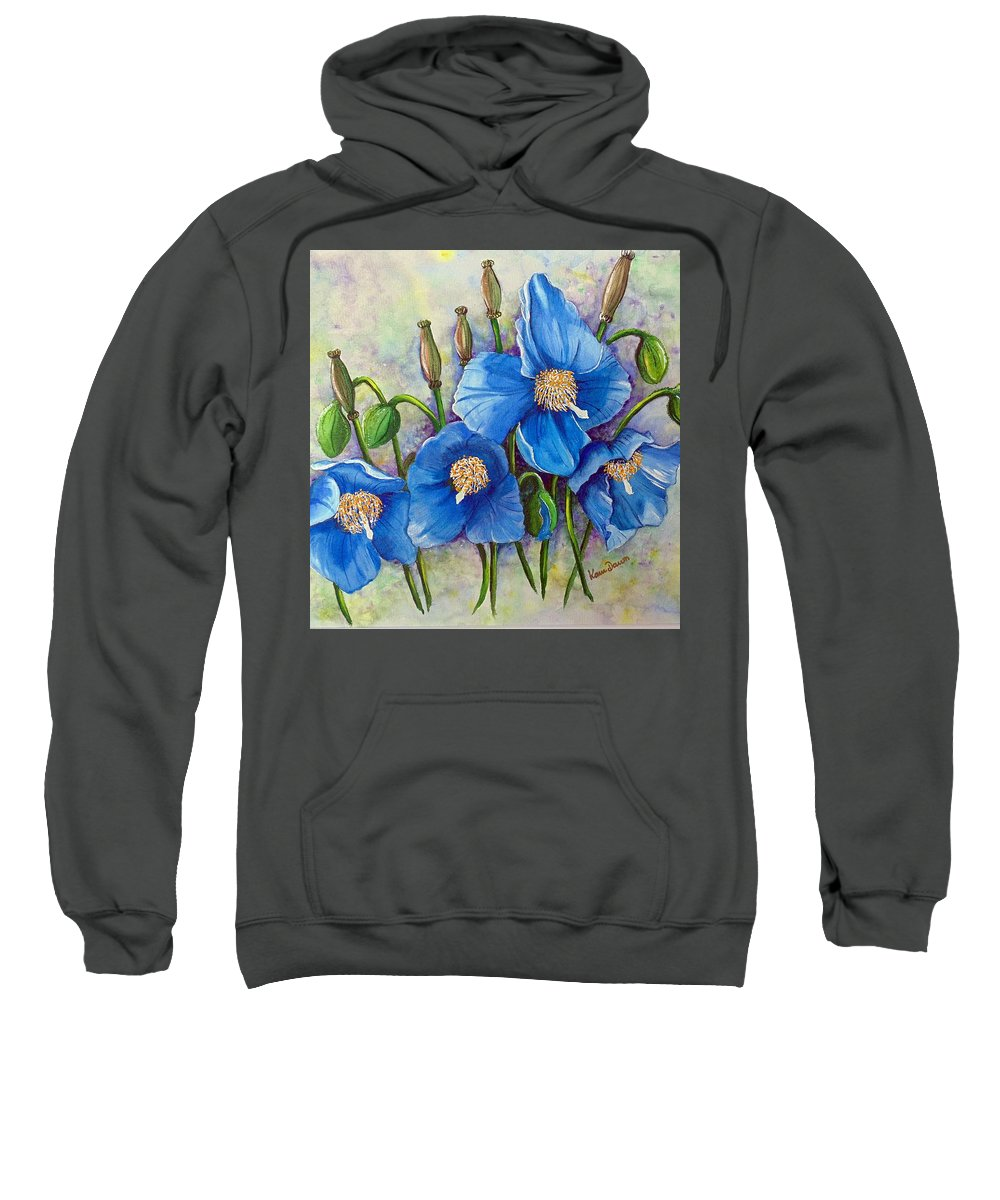 Blue Hymalayan Poppy Sweatshirt featuring the painting Meconopsis  Himalayan Blue Poppy by Karin Dawn Kelshall- Best