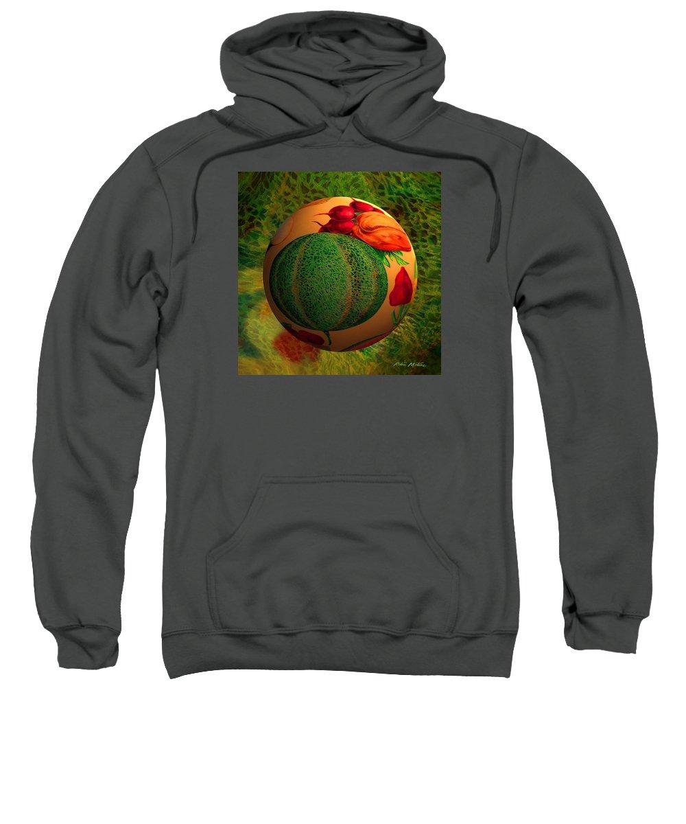 Melon Sweatshirt featuring the digital art Melon Ball by Robin Moline