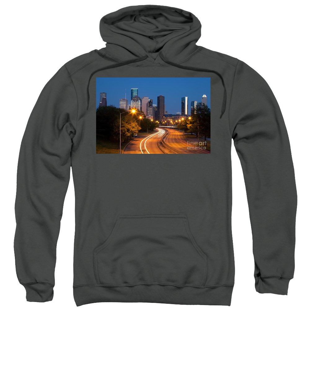 Houston Sweatshirt featuring the photograph Memorial Drive And Houston Skyline by Bill Cobb