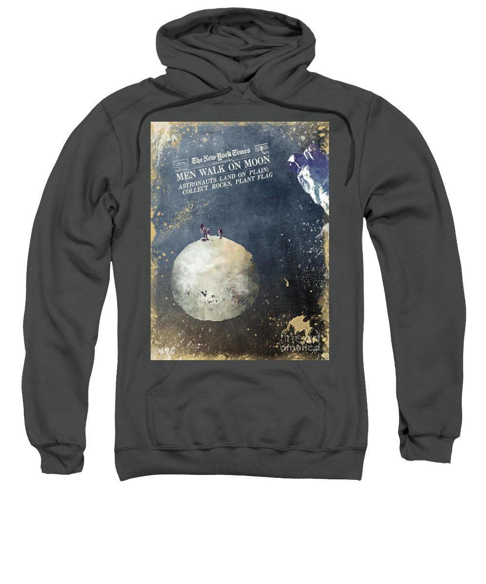 Astronaut Sweatshirt featuring the digital art Men Walk On Moon Astronauts by Justyna JBJart