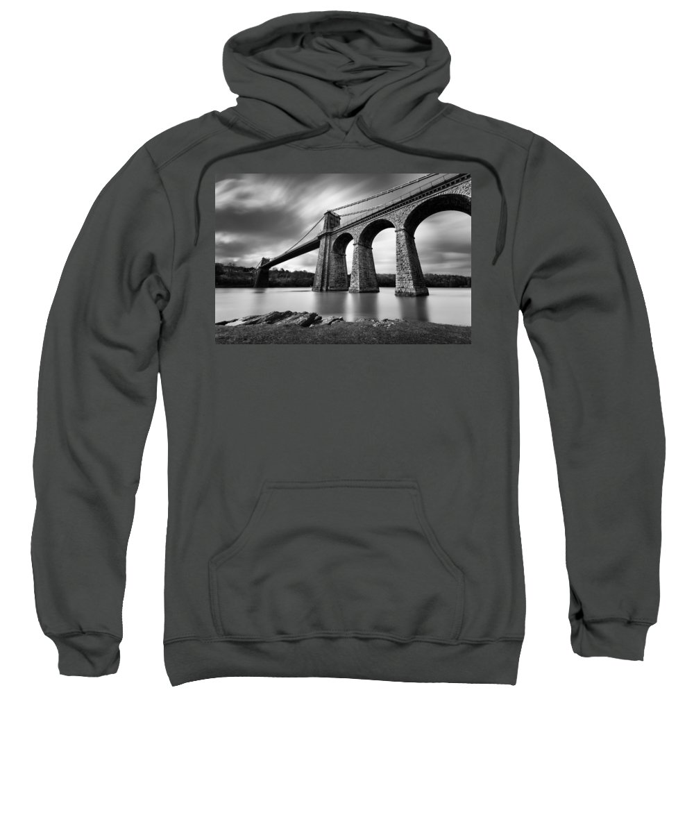Menai Suspension Bridge Sweatshirt featuring the photograph Menai Suspension Bridge by Dave Bowman