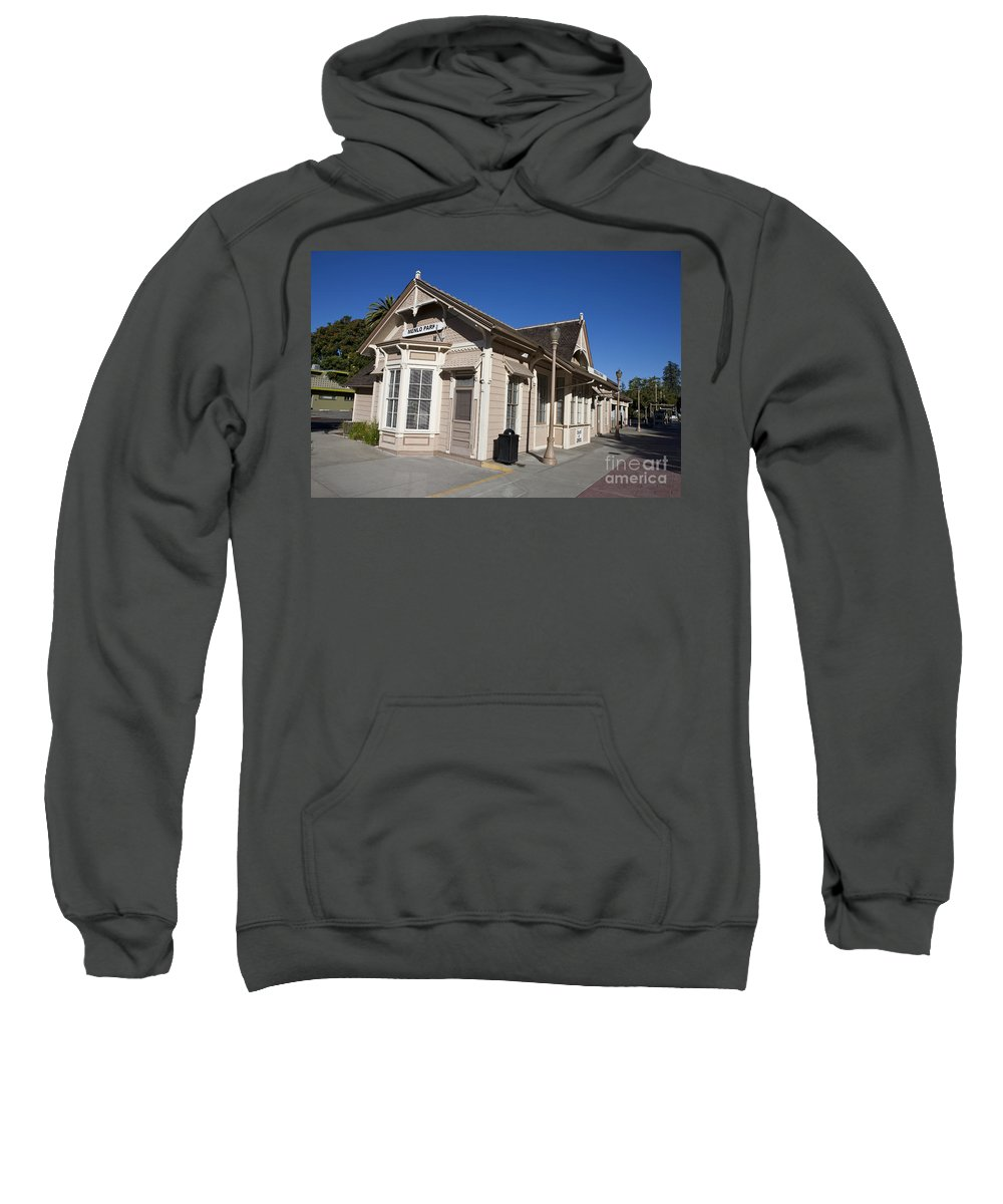 Menlo Park Sweatshirt featuring the photograph Menlo Park Train Station California by Jason O Watson