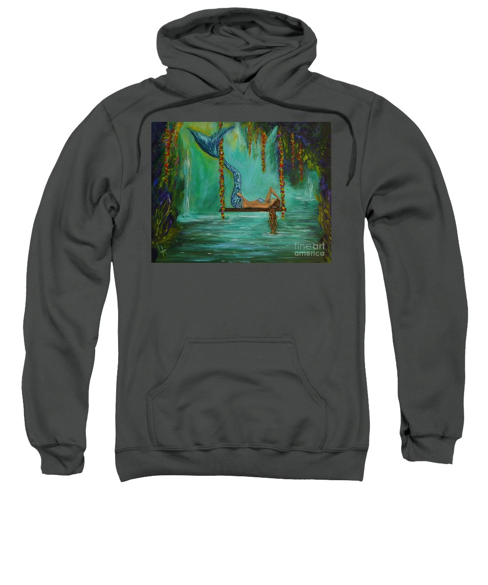 Rmaid Paintings Sweatshirt featuring the painting Mermaids Relaxing Evening by Leslie Allen