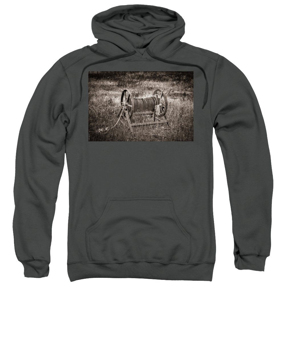 Rope Sweatshirt featuring the photograph Metal Frame Rope Spindle 1 by M Dale