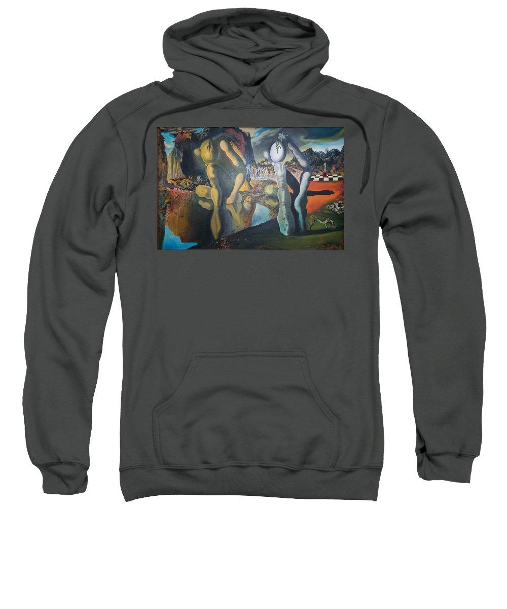 Metamophosis Of Narcissus Sweatshirt featuring the painting Metamophosis Of Narcissus by Gary Hogben