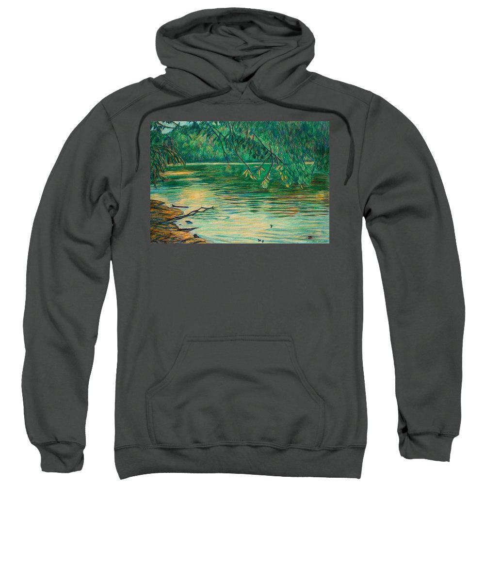 Landscape Sweatshirt featuring the painting Mid-spring On The New River by Kendall Kessler