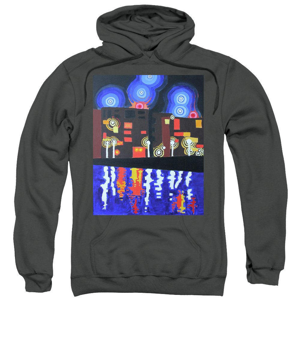 Night Sweatshirt featuring the painting Midnight At Tha Marina by Don Martinelli