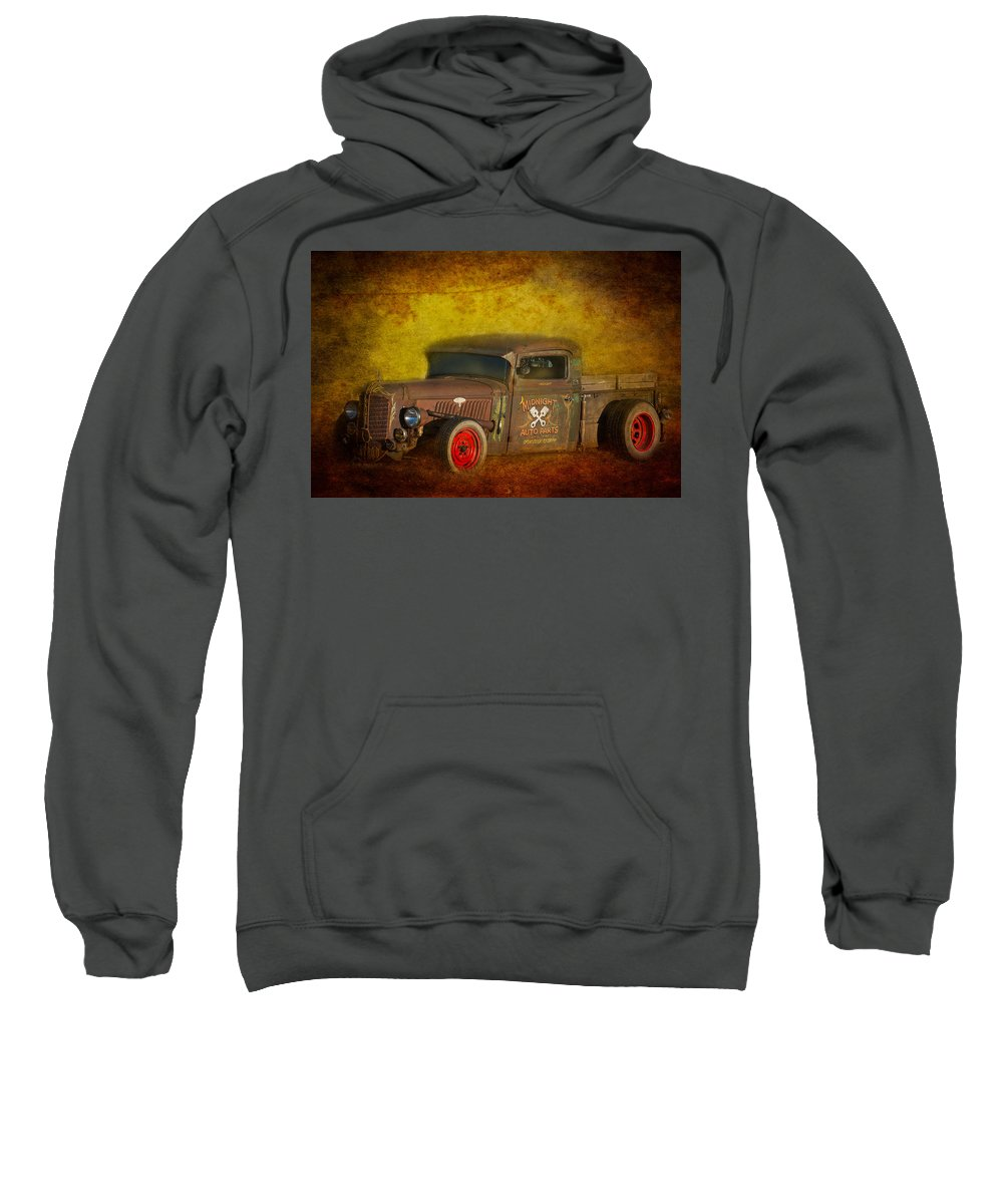 Old Sweatshirt featuring the photograph Midnight Auto Parts by Paul Freidlund