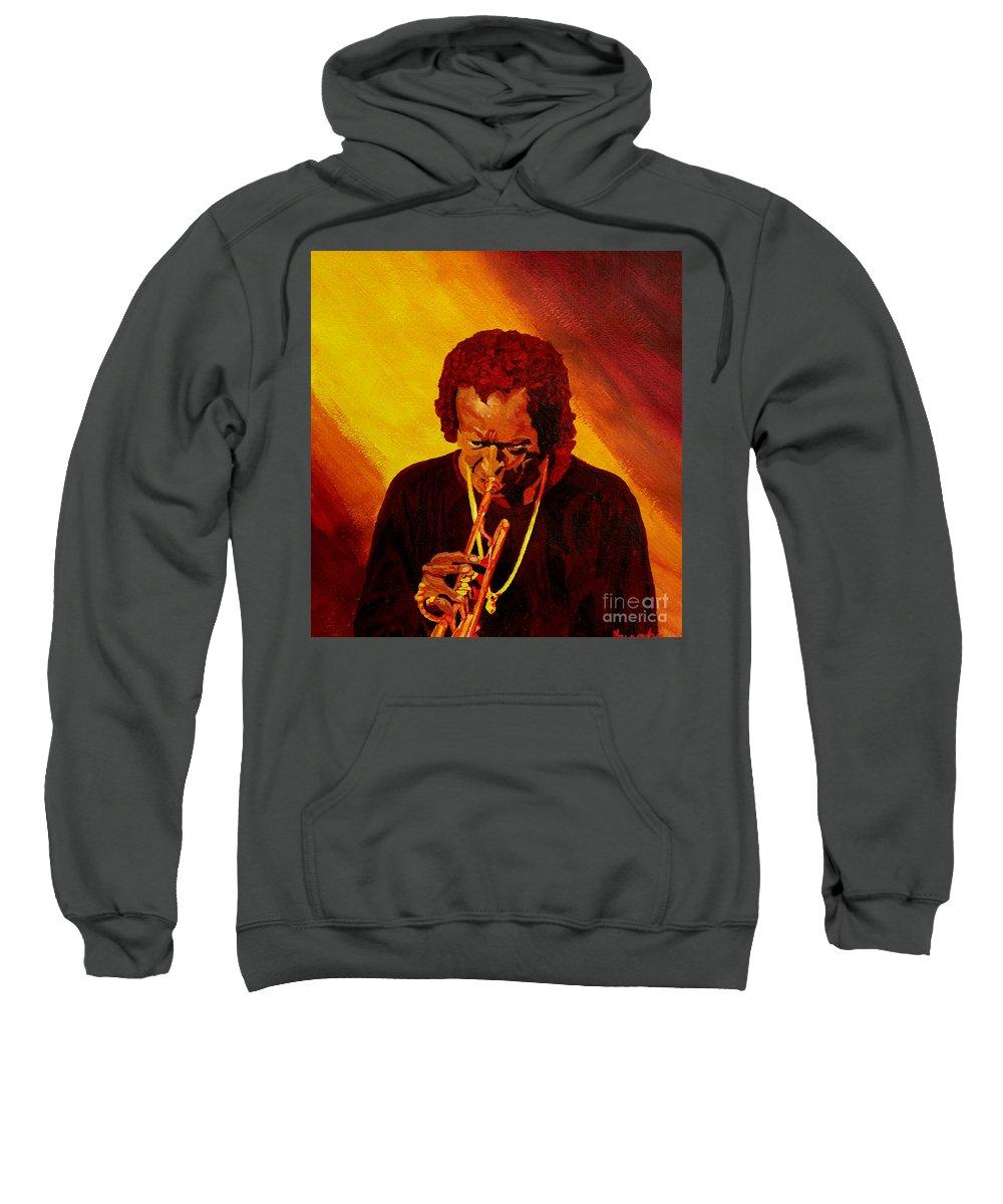 Miles Davis Sweatshirt featuring the painting Miles Davis Jazz Man by Anthony Dunphy