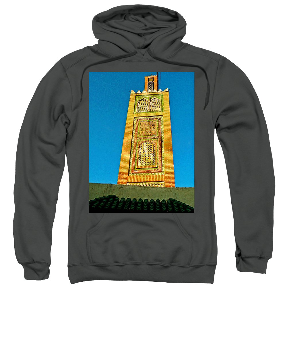 Minaret For Call To Prayer In Tangiers Sweatshirt featuring the photograph Minaret For Call To Prayer In Tangiers-morocco by Ruth Hager