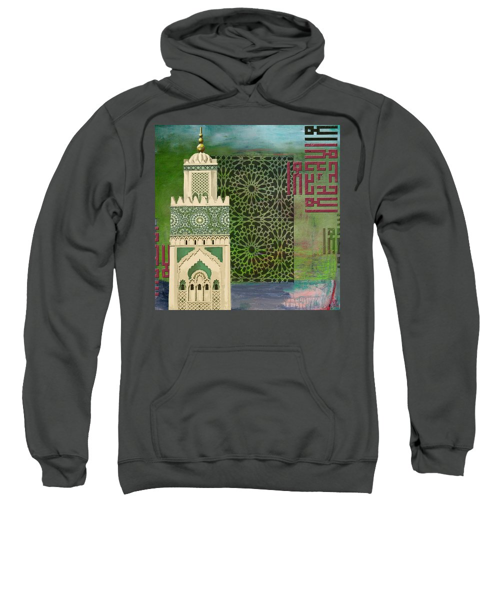 Grande Mosque Hassan Sweatshirt featuring the painting Minaret Of Hassan 2 Mosque by Corporate Art Task Force