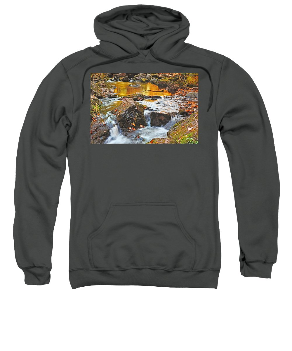 Upper Peninsula Sweatshirt featuring the photograph Mini Waterfall In The Porkies by Kathryn Lund Johnson