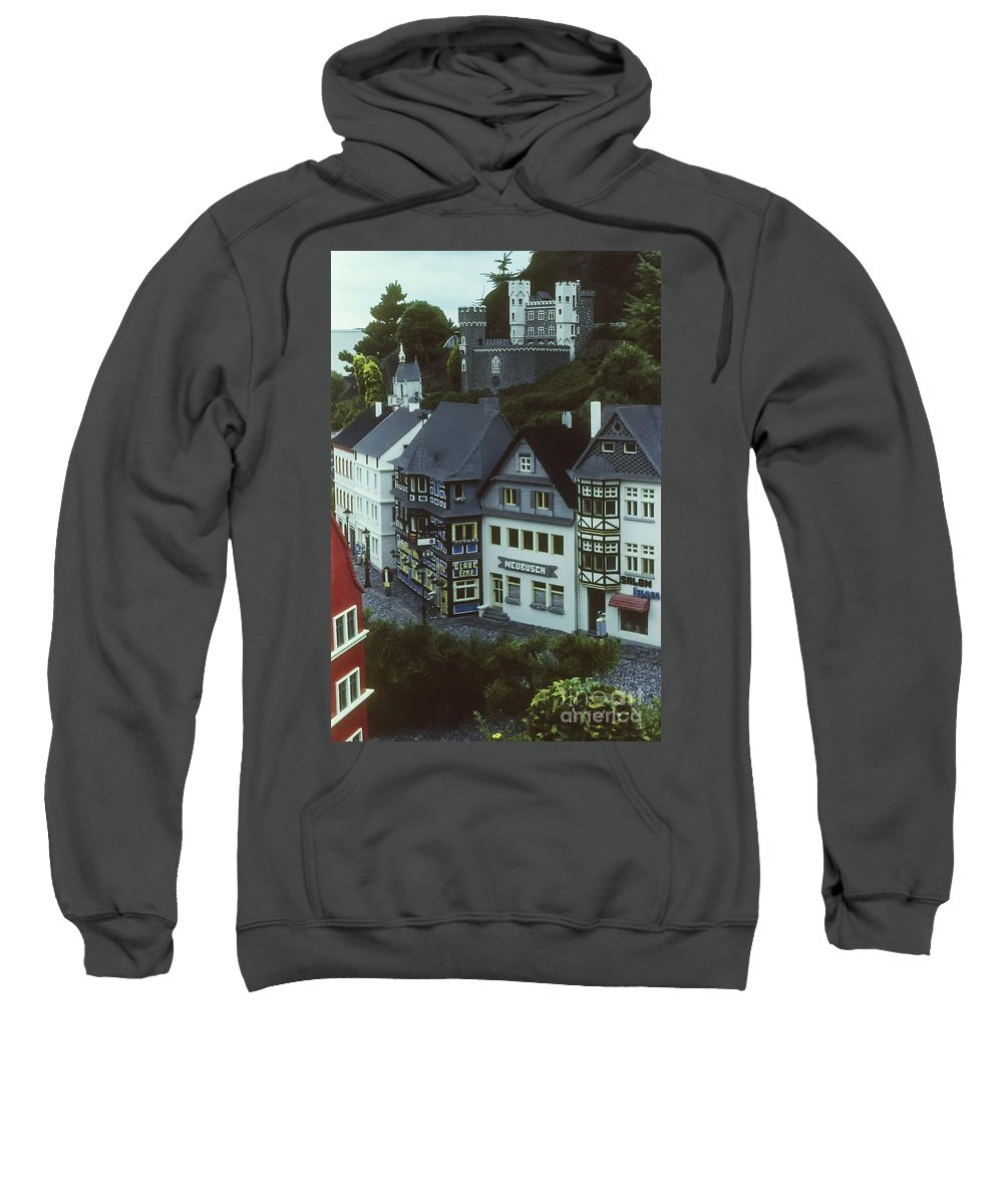 Legoland Billund Denmark Lego Legos Tree Trees Replica Replicas Artwork Odds And Ends Sweatshirt featuring the photograph Miniature Village by Bob Phillips