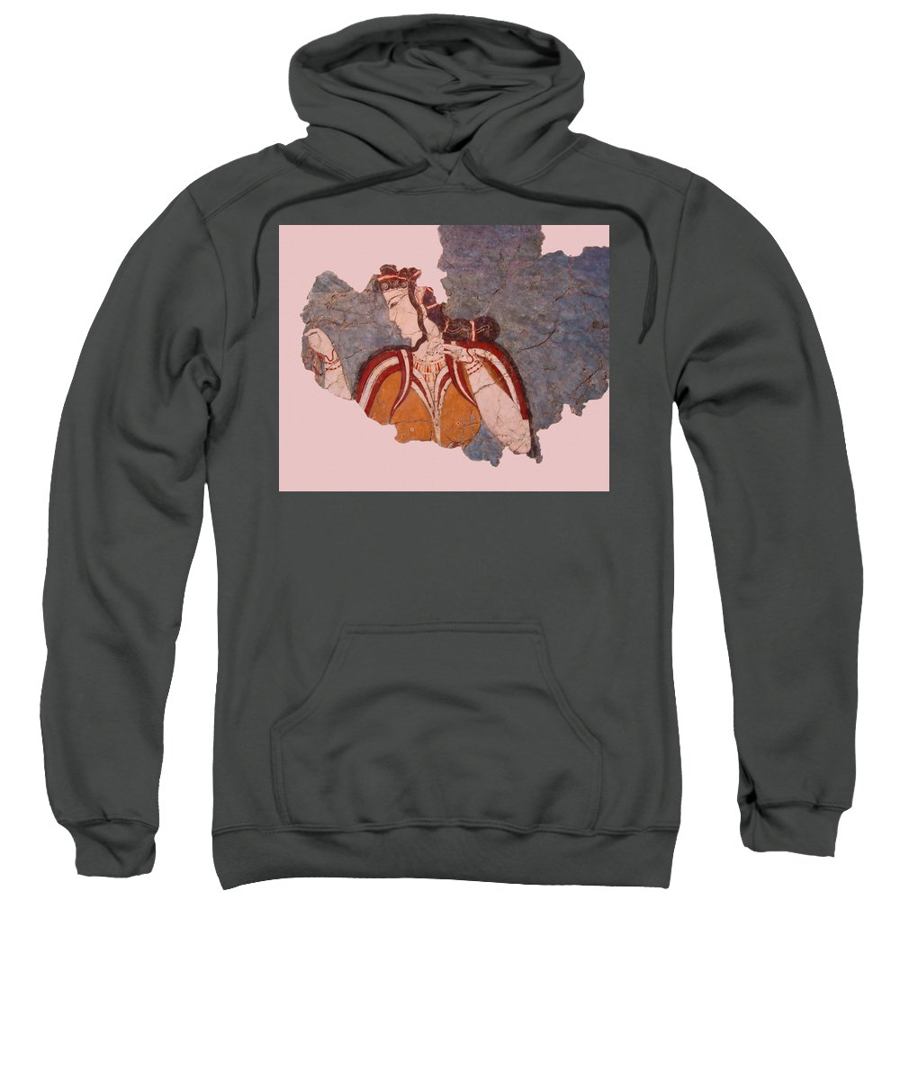 Minoan Wall Painting Sweatshirt featuring the photograph Minoan Wall Painting by Ellen Henneke