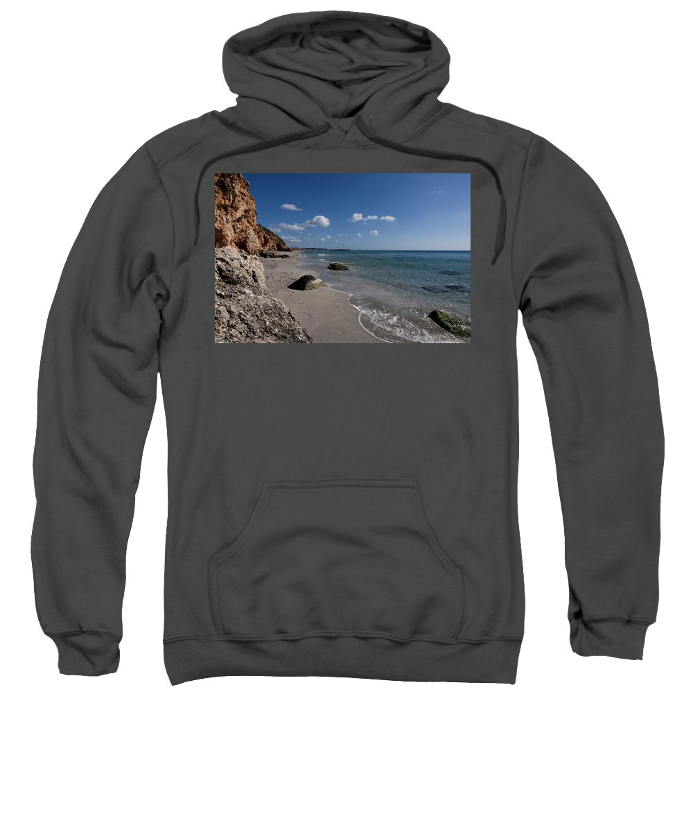 Peace Sweatshirt featuring the photograph Binigaus Beach In South Coast Of Minorca With A Turquoise Crystalline Water - Paradise In Blue by Pedro Cardona Llambias
