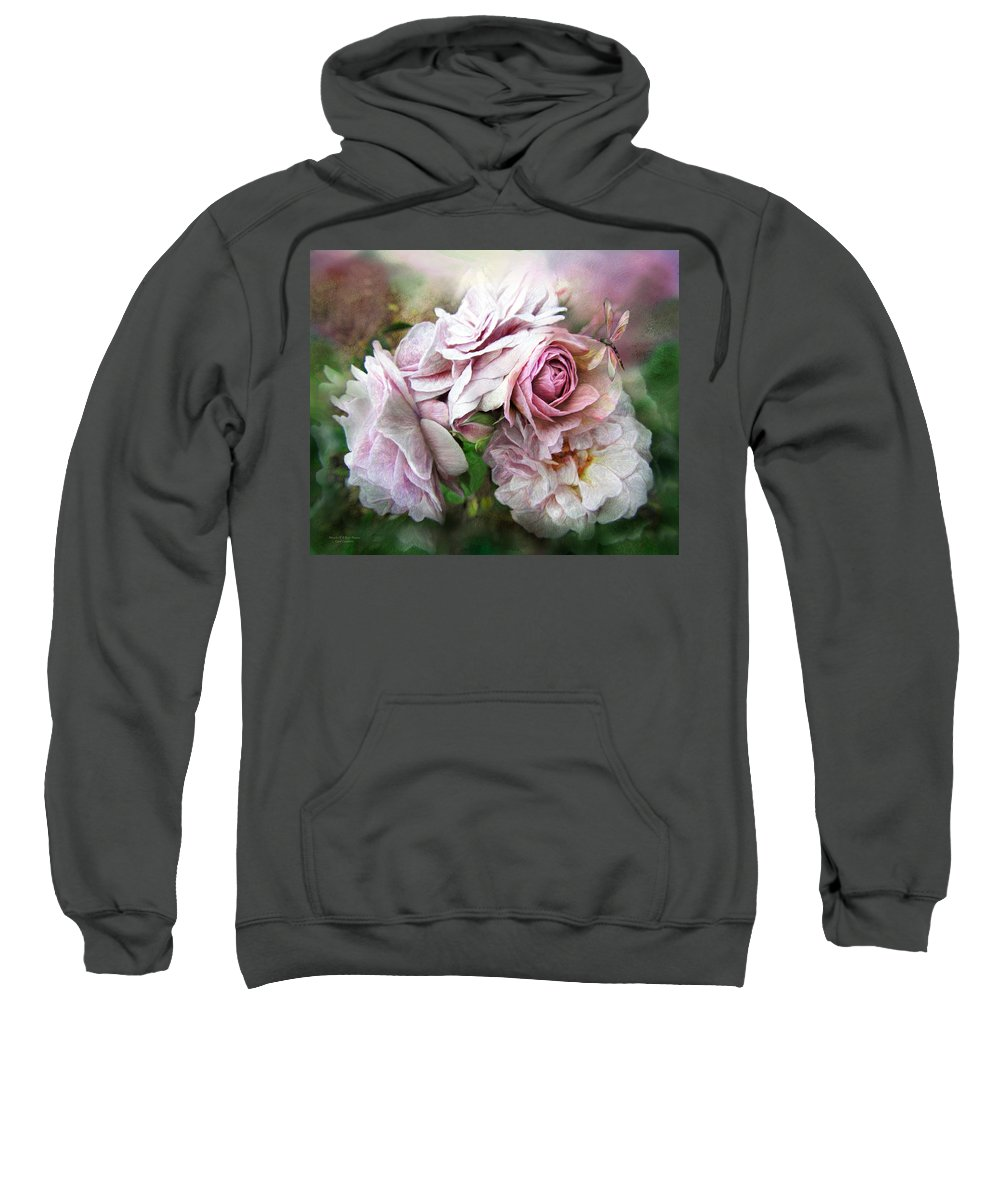 Rose Sweatshirt featuring the mixed media Miracle Of A Rose - Mauve by Carol Cavalaris