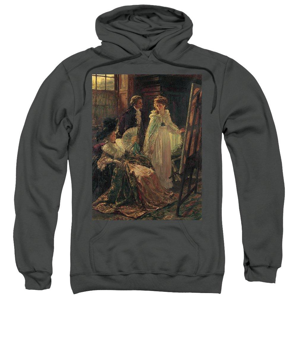 Miss Angel Sweatshirt featuring the painting Miss Angel Visits Mr Reynolds Studio by Margaret Isabel Dicksee