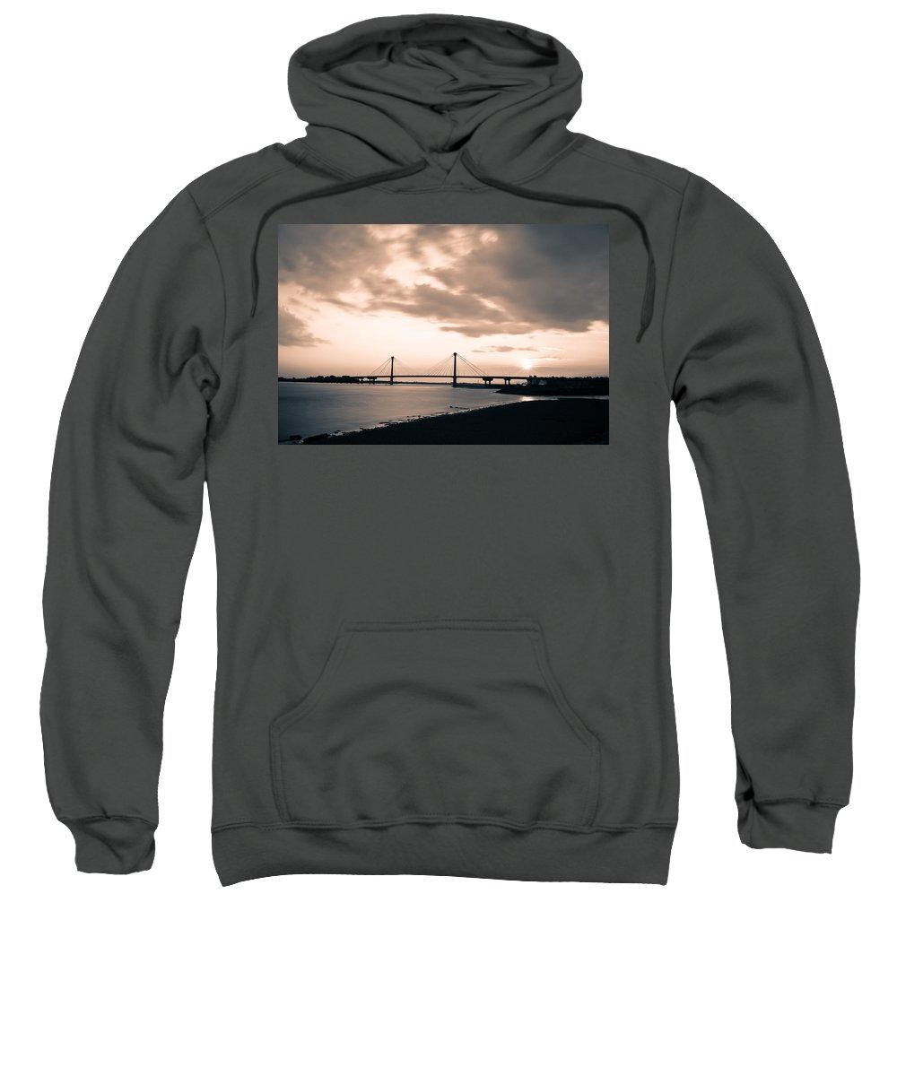 Clark Bridge Sweatshirt featuring the photograph Clark Bridge In Timelapse by Scott Rackers