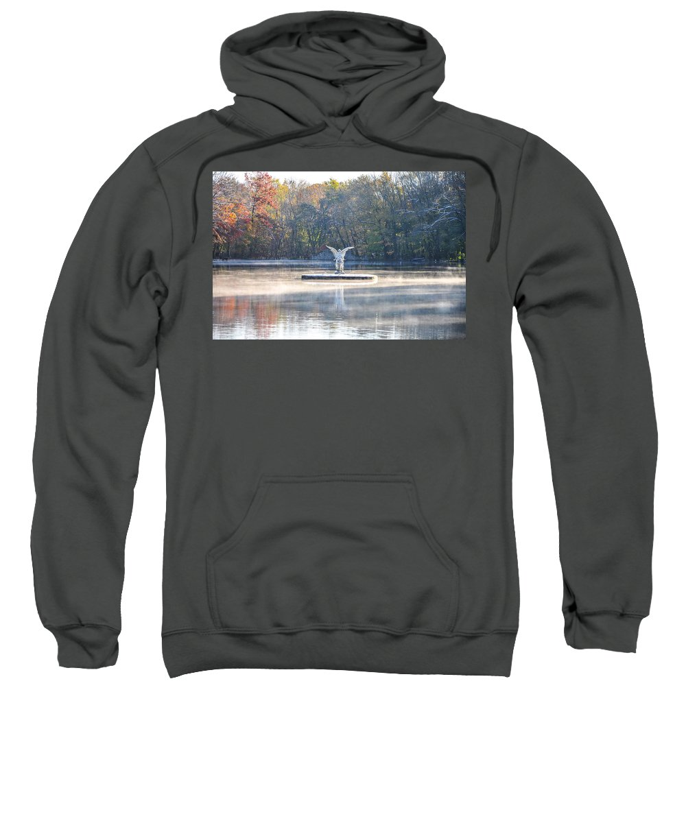 Misty Sweatshirt featuring the photograph Misty Lake Angel by Bill Cannon