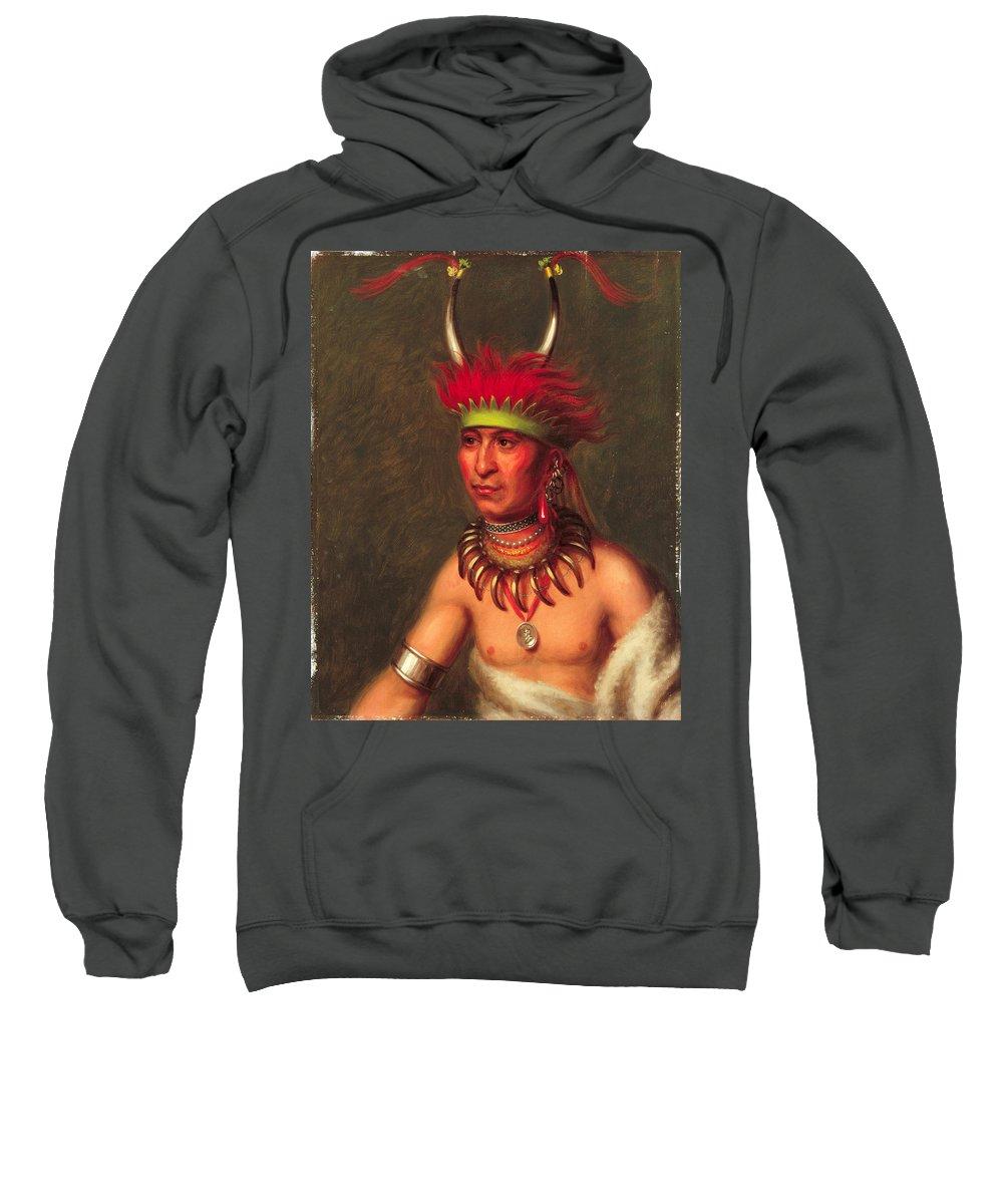 Charles Bird King Sweatshirt featuring the painting Monchousia . White Plume Kansa by Charles Bird King