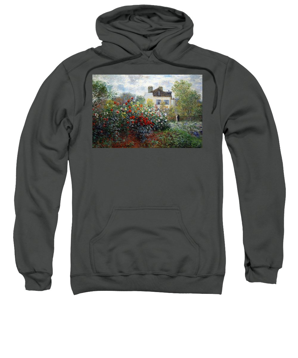 The Artist's Garden In Argenteuil Sweatshirt featuring the photograph Monet's The Artist's Garden In Argenteuil -- A Corner Of The Garden With Dahlias by Cora Wandel