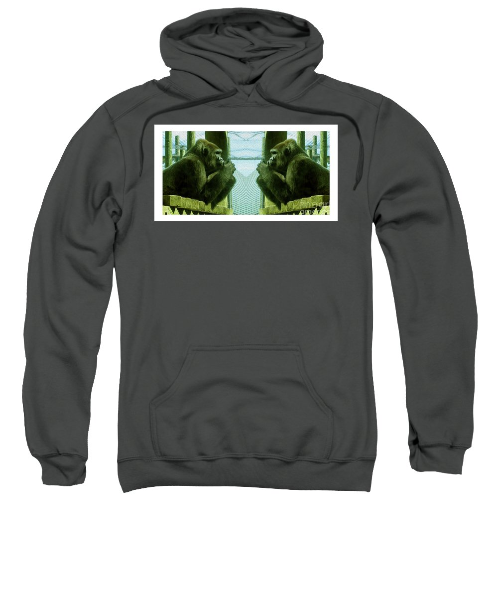 Gorilla Sweatshirt featuring the photograph Monkey See Monkey Do by Nina Silver