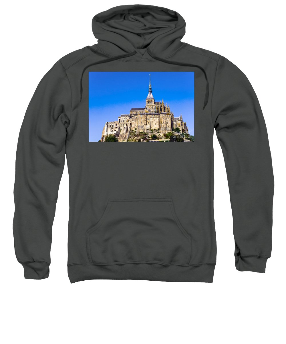 Mont Saint-michel France Building Buildings Church Churches Abbey Abbeys Landmark Landmarks Monastery Monasteries Spire Spires City Cities Cityscape Cityscape Stair Stairs Wall Walls Window Windows Places Place Of Worship Landscape Landscapes Sweatshirt featuring the photograph Mont Saint-michel by Bob Phillips