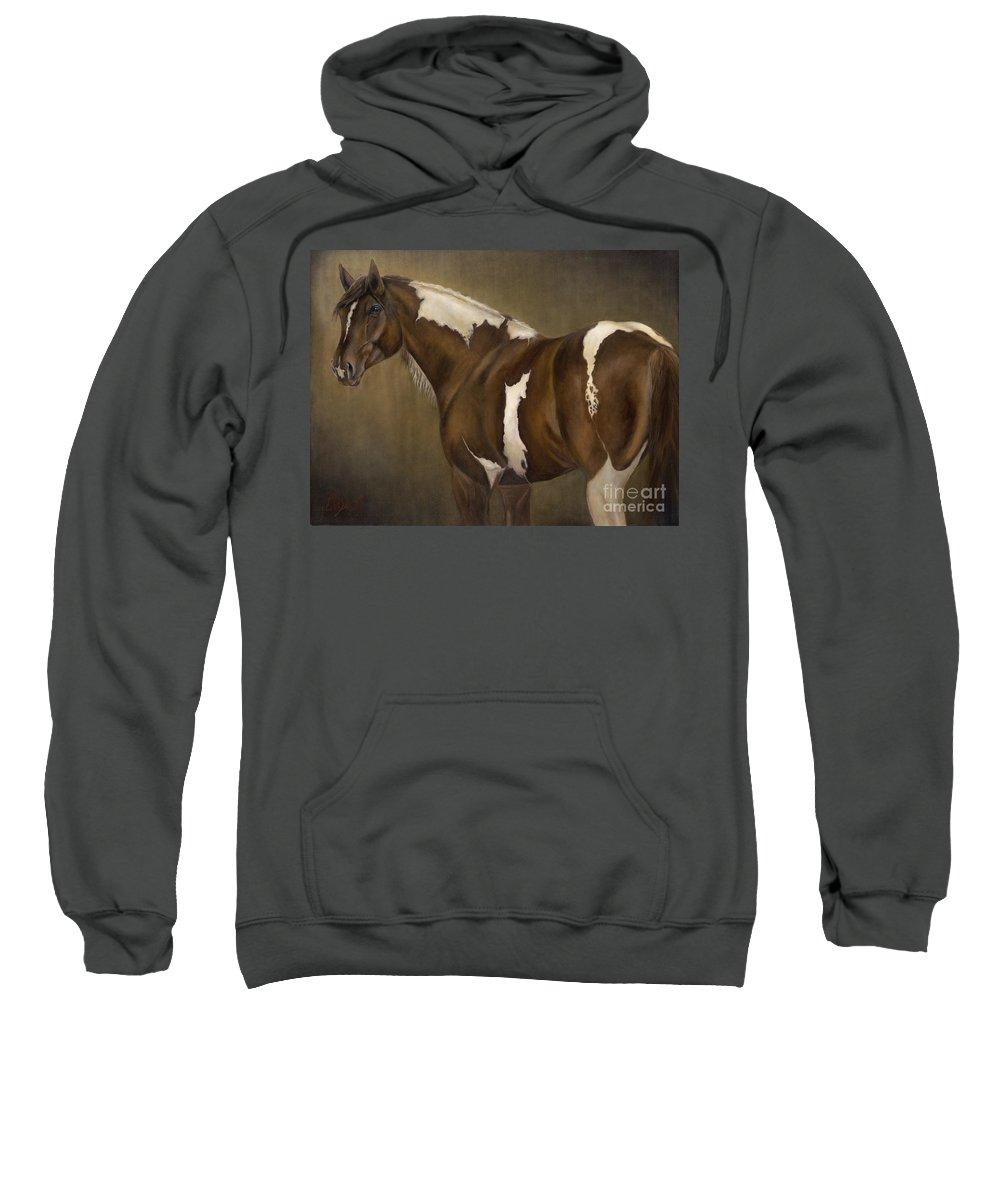 Stallion Sweatshirt featuring the painting Montana by Catherine Davis