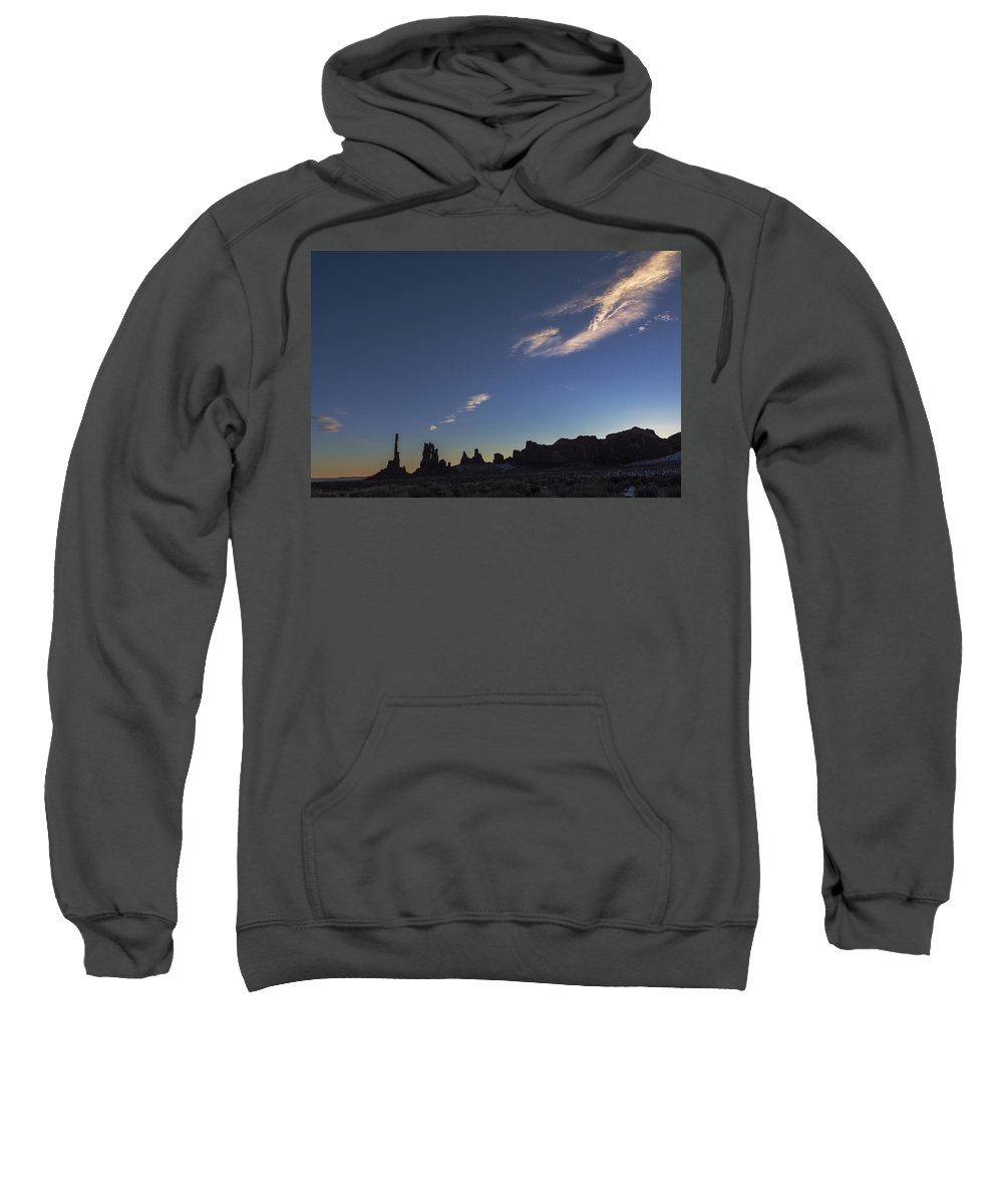 Totem Pole Sweatshirt featuring the photograph Monument Valley Dawn by Mike Herdering