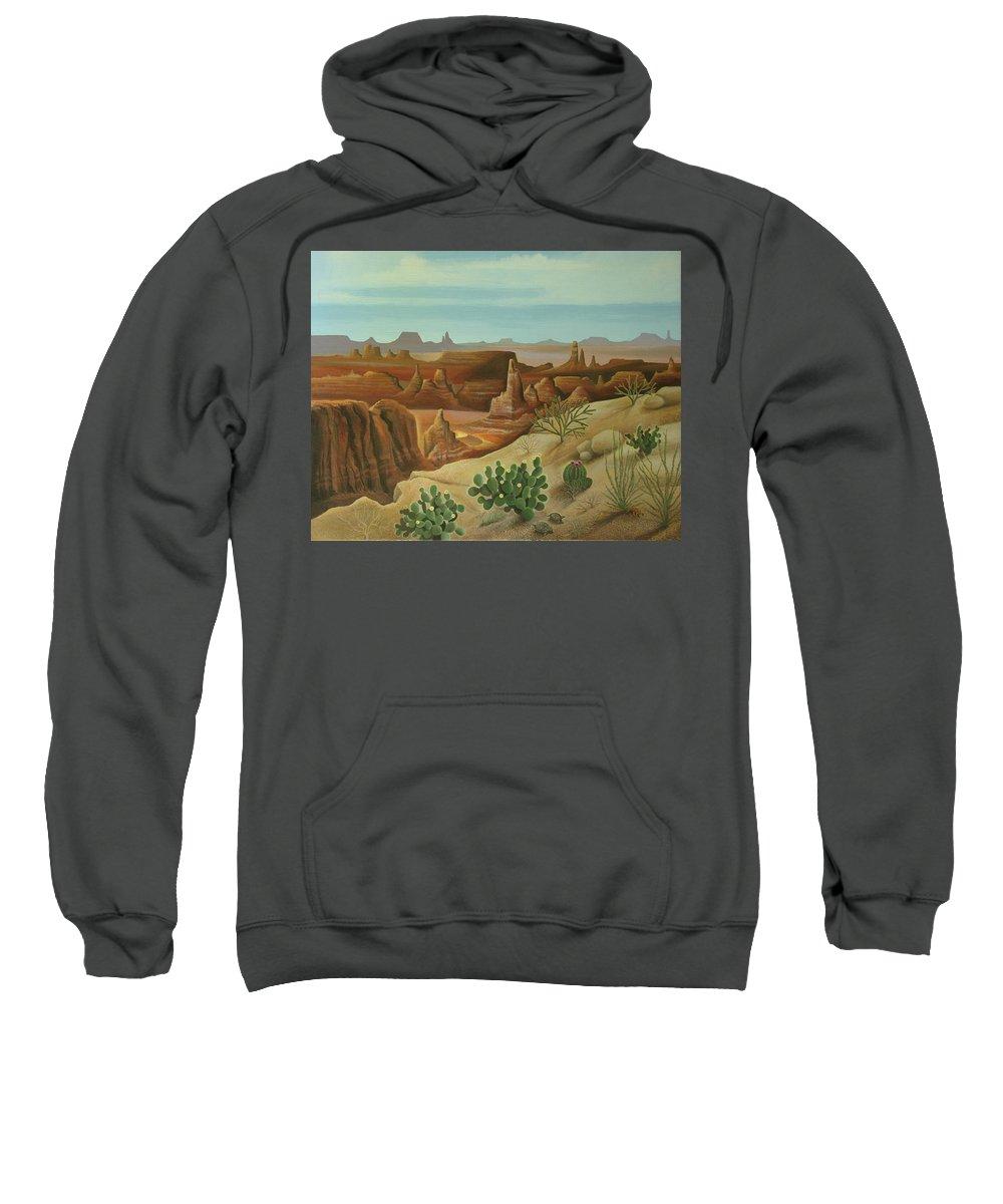 Desert Landscape Sweatshirt featuring the painting Monument Valley by Stuart Swartz