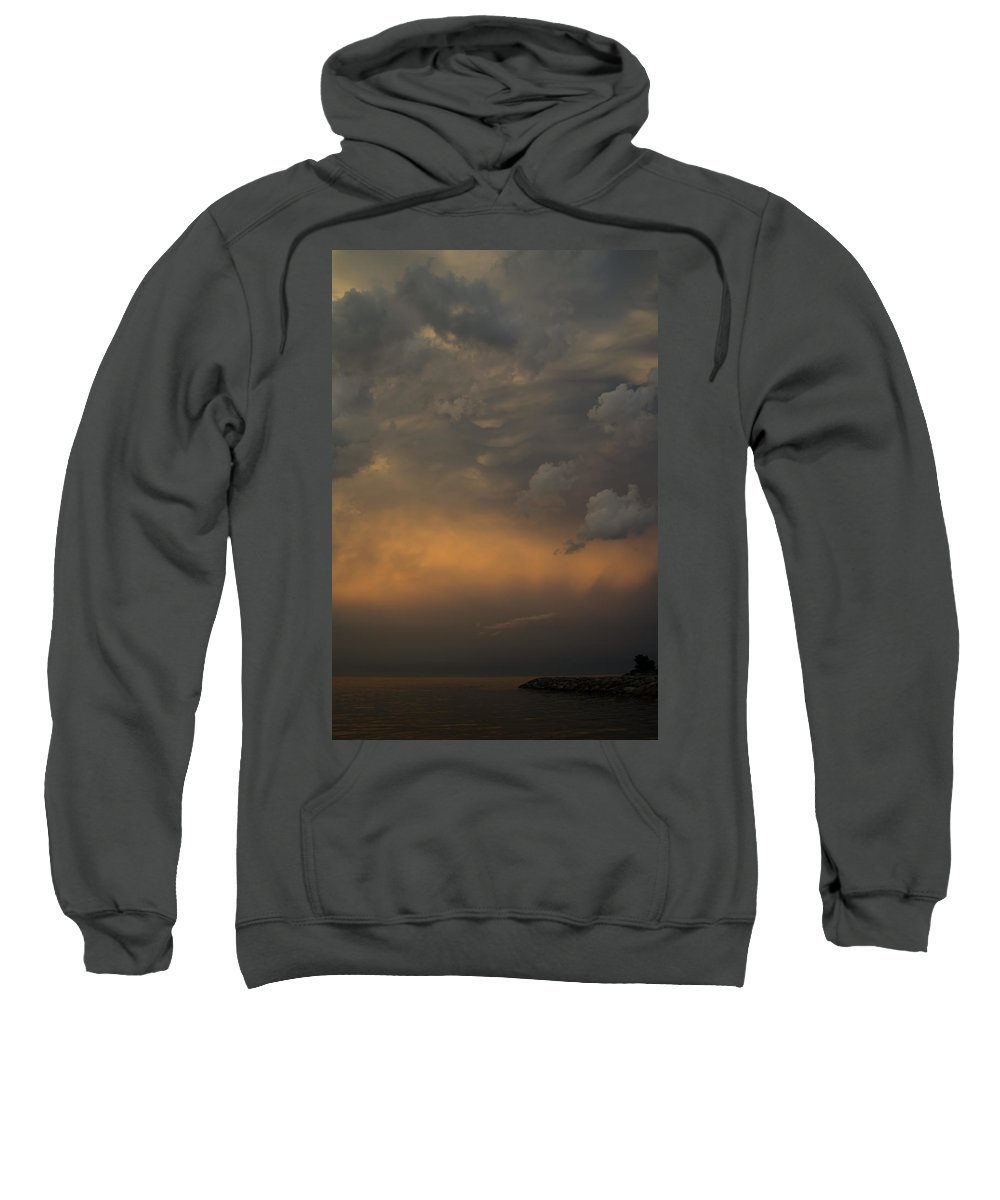 Cloud Sweatshirt featuring the photograph Moody Storm Sky Over Lake Ontario In Toronto by Georgia Mizuleva