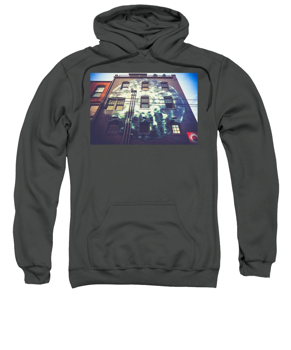 Downtown Asheville Nc Sweatshirt featuring the photograph Moon Mural At The 5 Walnut Wine Bar by Mela Luna