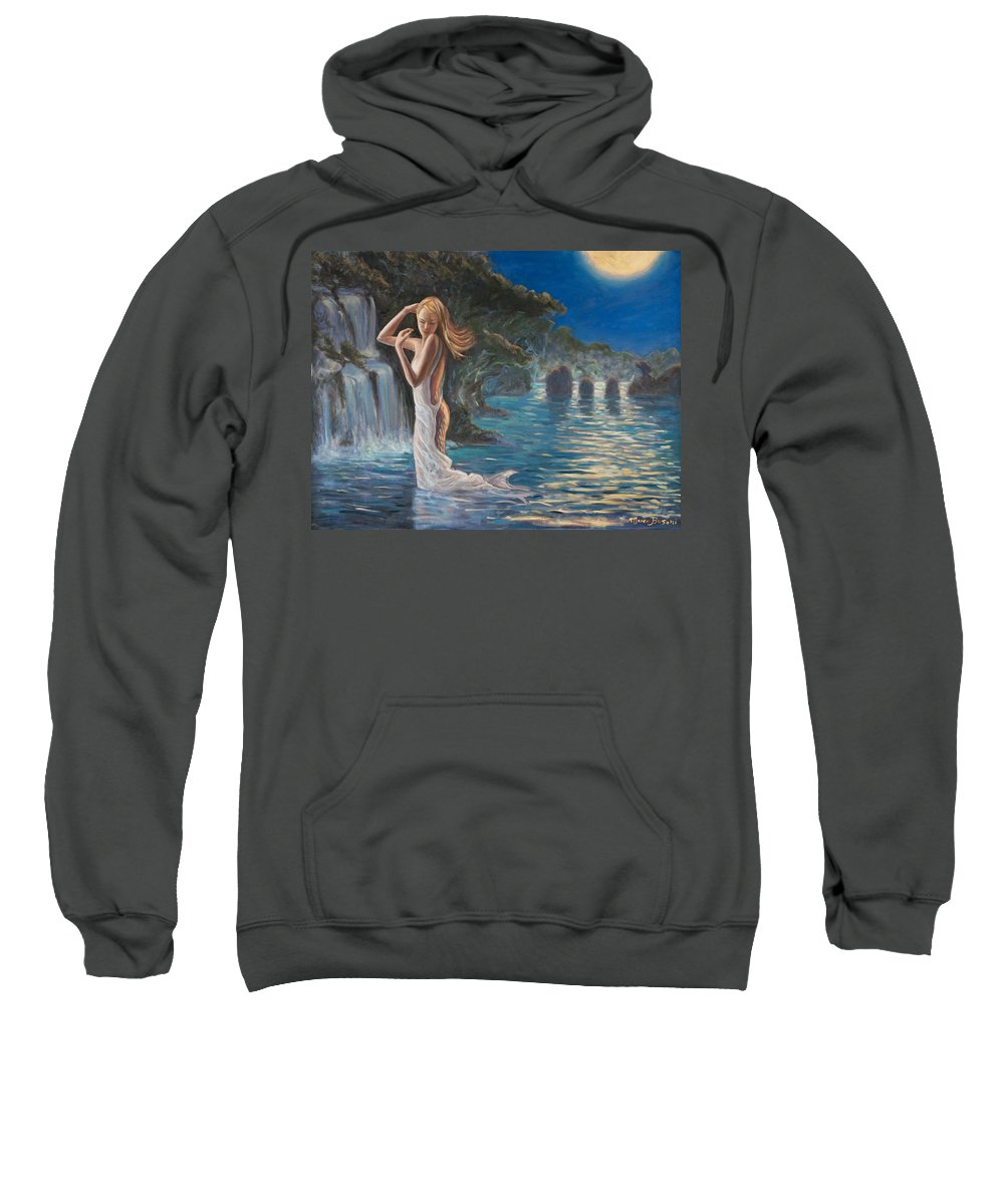 Mermaid Sweatshirt featuring the painting Transformed By The Moonlight by Marco Busoni