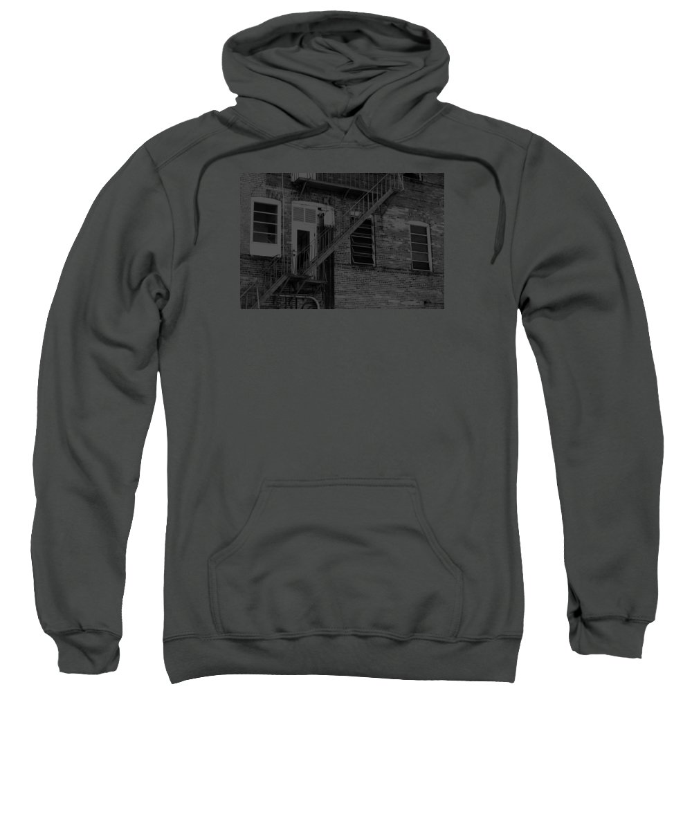 Horizontal Sweatshirt featuring the photograph Moonlight Fire Escape Usa Near Infrared by Sally Rockefeller