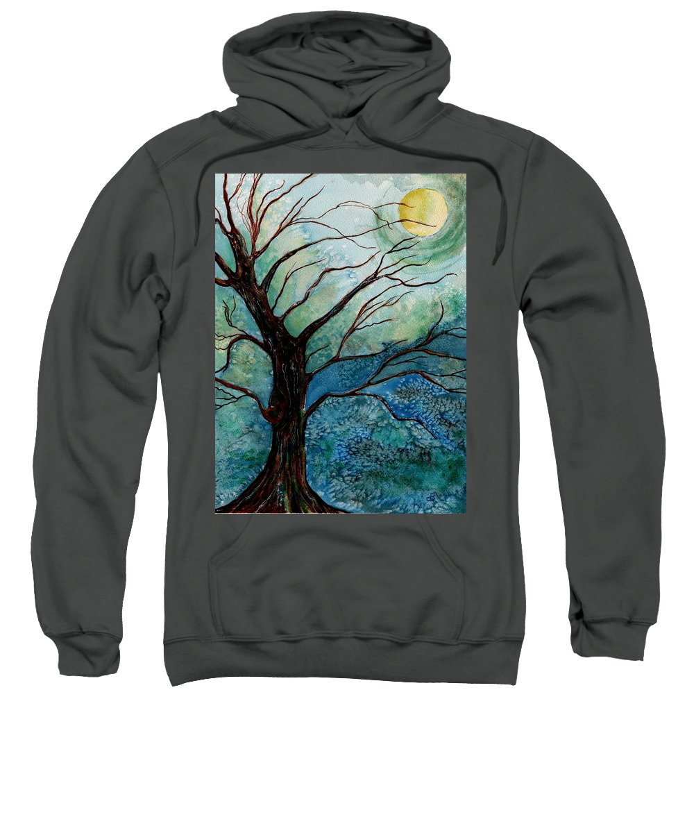 Landscape Sweatshirt featuring the painting Moonrise In The Wild Night by Brenda Owen
