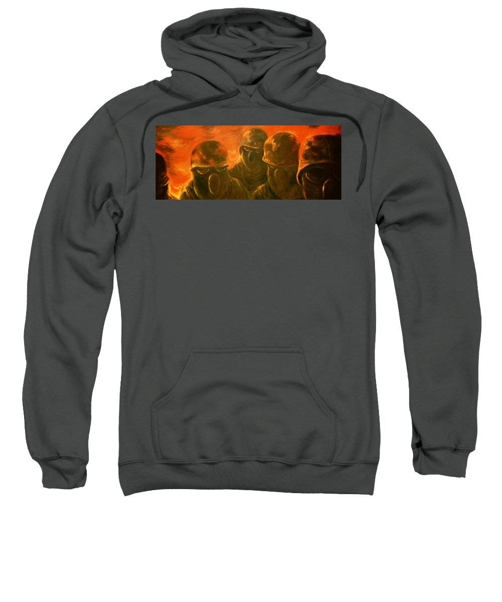 Military Art Sweatshirt featuring the painting Mopp I by Carlene Salazar
