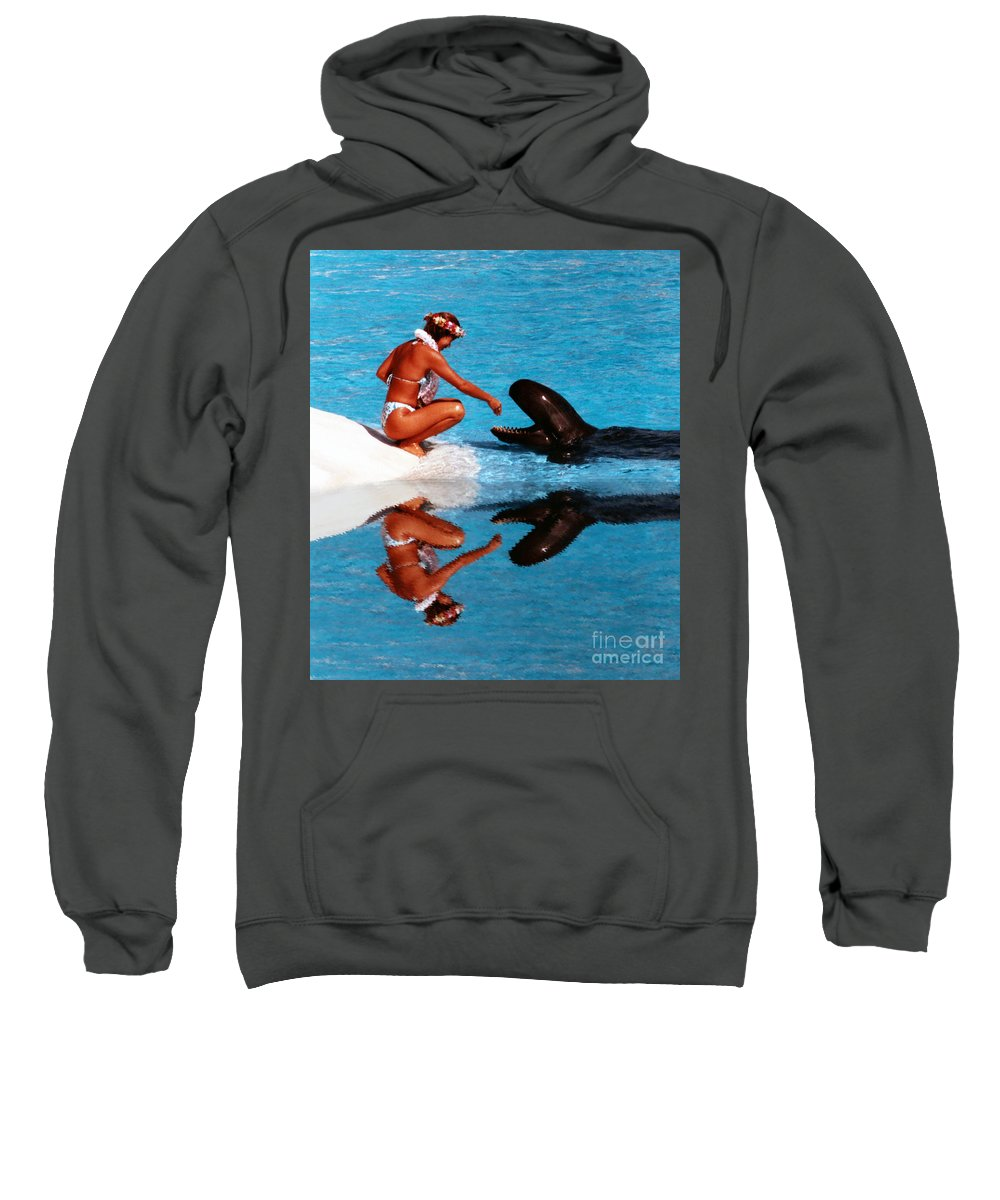 Feeding Time Sweatshirt featuring the photograph More Treats Please Altered Version II by Jim Fitzpatrick
