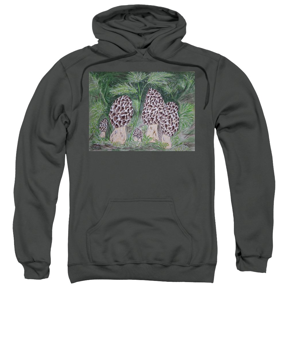 Morel Sweatshirt featuring the painting Morel Mushrooms by Kathy Marrs Chandler