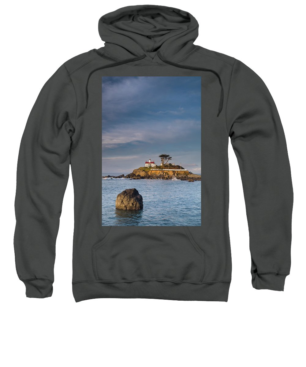 Sunrise Sweatshirt featuring the photograph Morning At Battery Point Lighthouse by Greg Nyquist