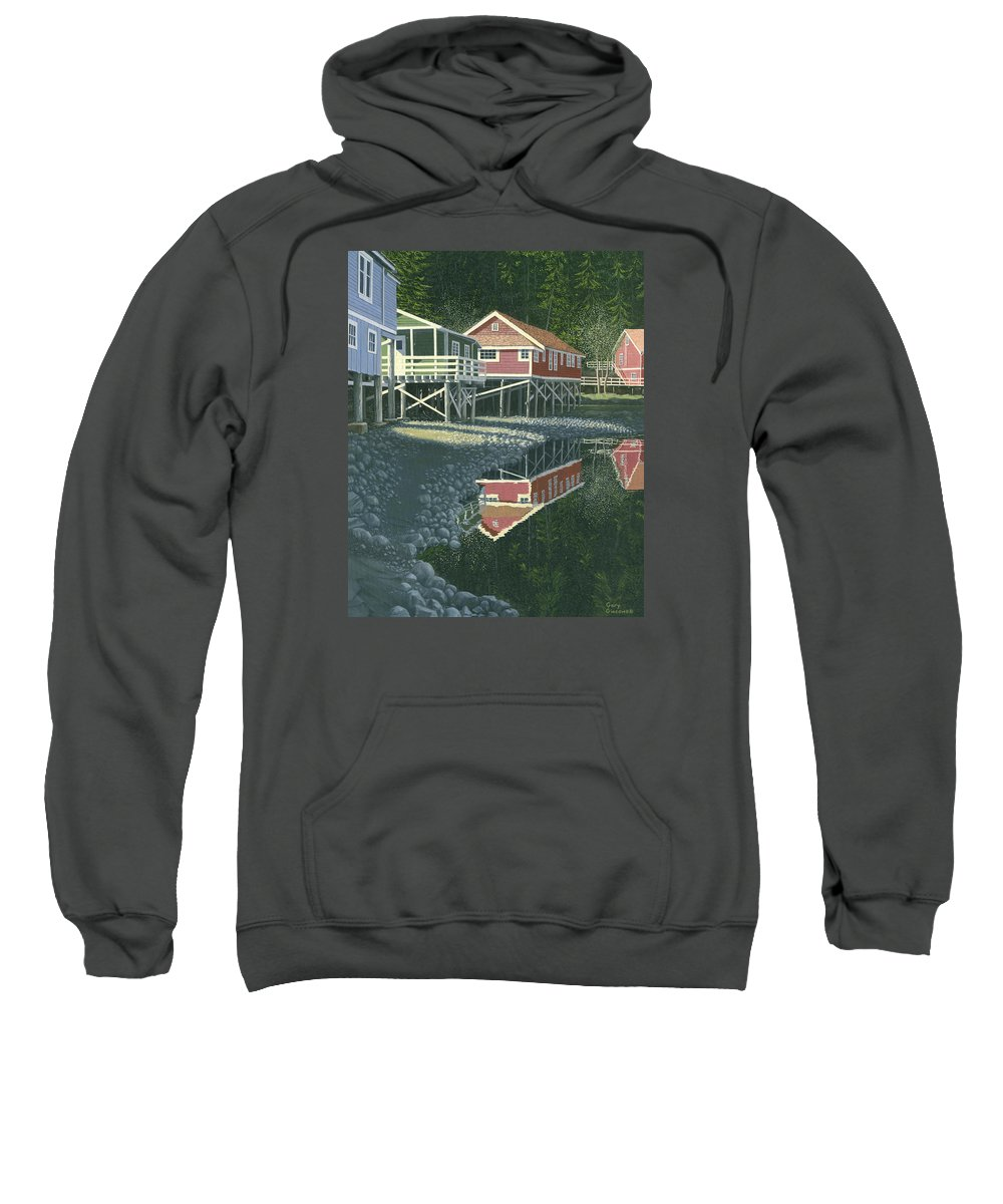 Landscape Sweatshirt featuring the painting Morning At Telegraph Cove by Gary Giacomelli