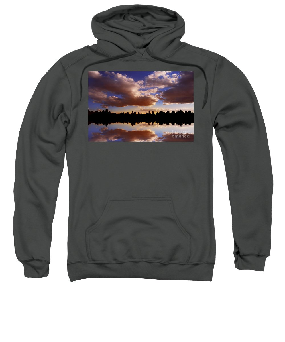 New York City Sweatshirt featuring the photograph Morning At The Reservoir New York City Usa by Sabine Jacobs