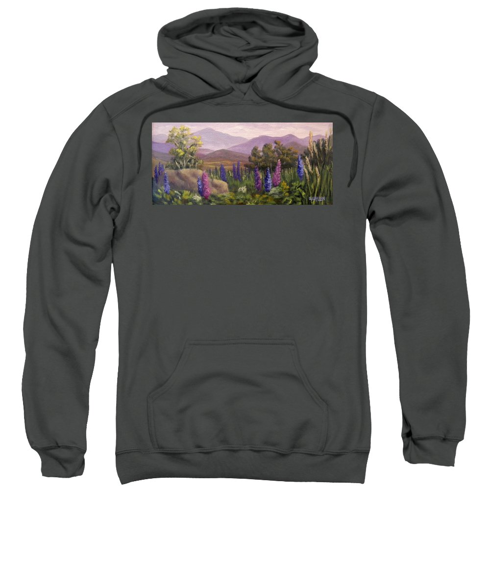 Lupines Sweatshirt featuring the painting Morning Lupines by Sharon E Allen