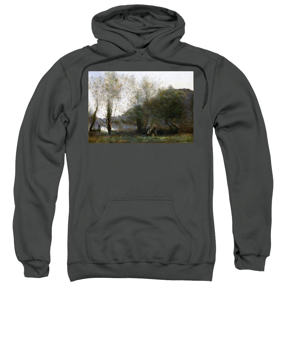 Jean-baptiste-camille Corot Sweatshirt featuring the painting Morning On The Estuary. Ville D Avray by Jean-Baptiste-Camille Corot