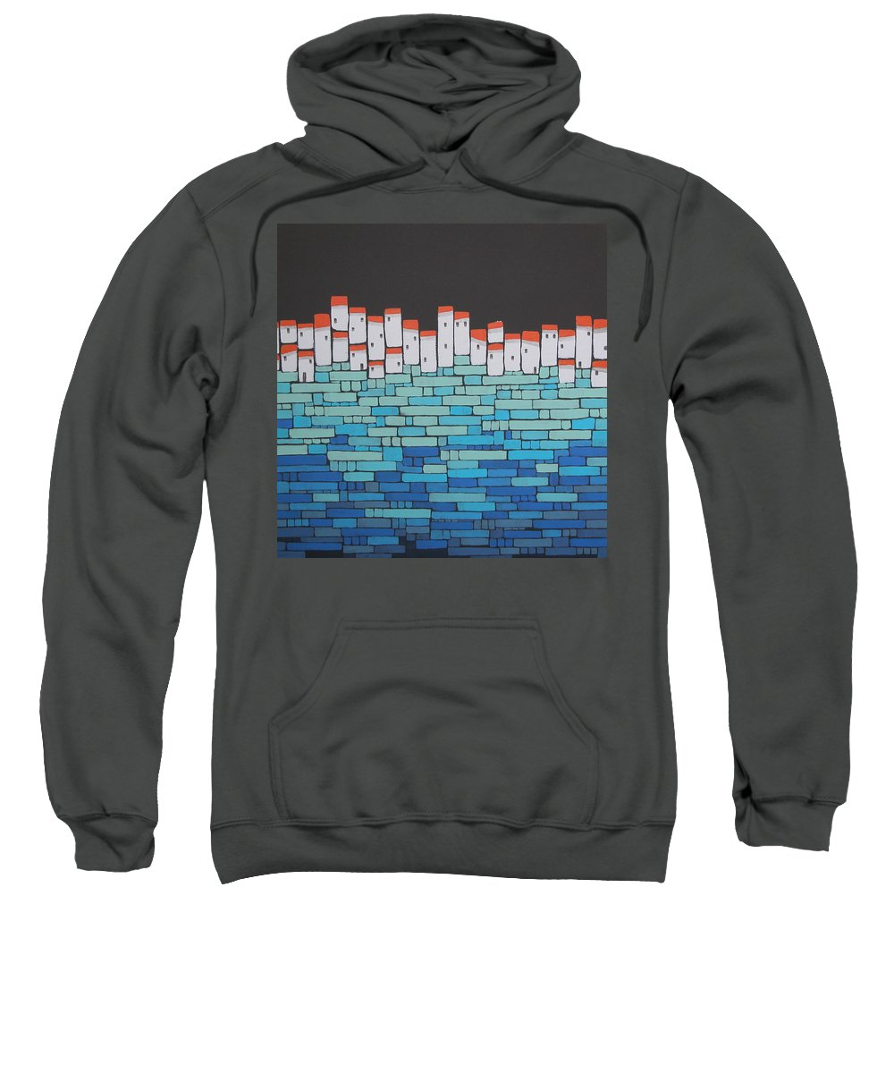 Mosaic Village Sweatshirt featuring the painting Mosaic Village 5 by Rhodes Rumsey
