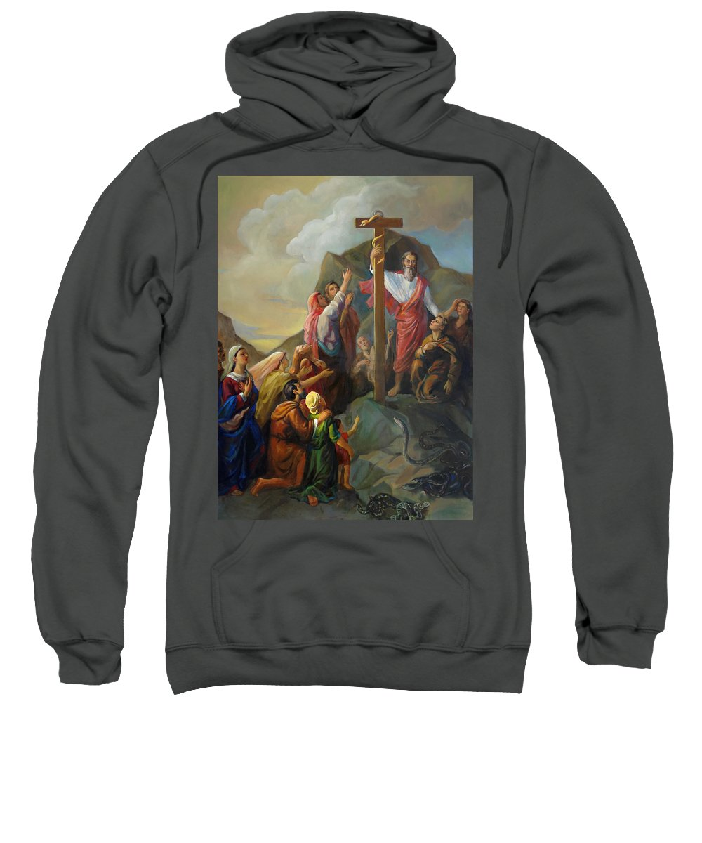 Moses Sweatshirt featuring the painting Moses And The Brazen Serpent - Biblical Stories by Svitozar Nenyuk
