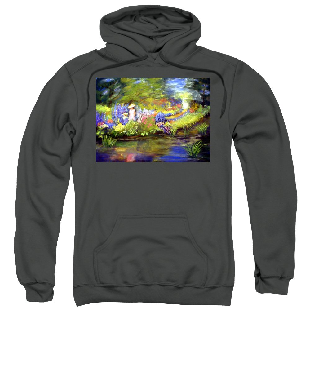 Flower Garden Sweatshirt featuring the painting Mother And Daughter by Gail Kirtz