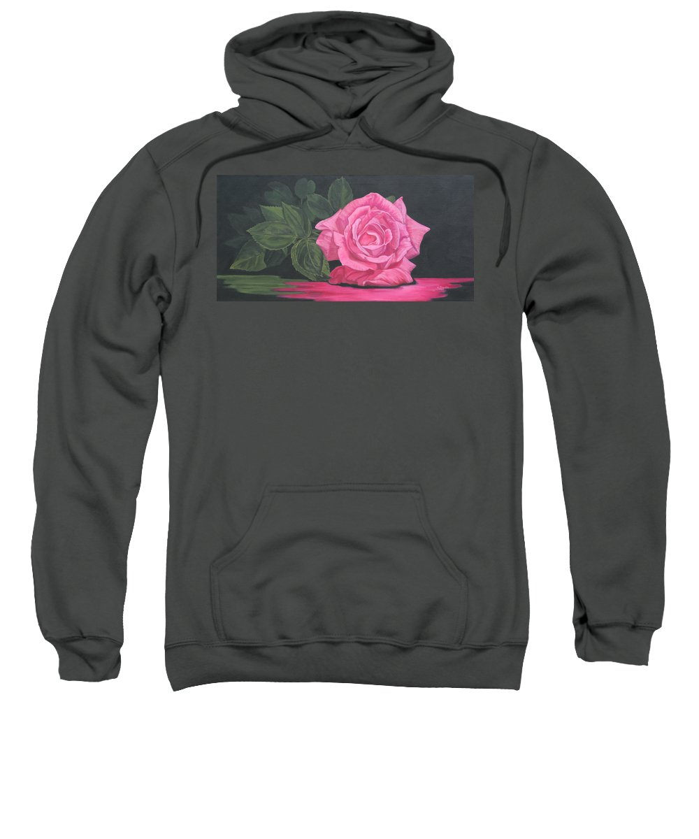 Rose Sweatshirt featuring the painting Mothers Day Rose by Wendy Shoults